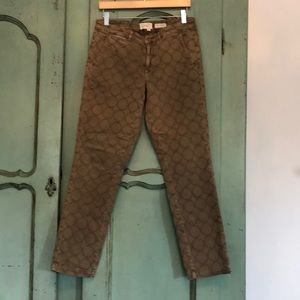 Anthropologie Relaxed Embroidered Tan Pants Sz 29